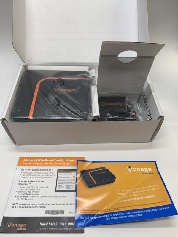 Vonage VDV22-VD Digital Phone Service Box with Power Adapter - New Open Box