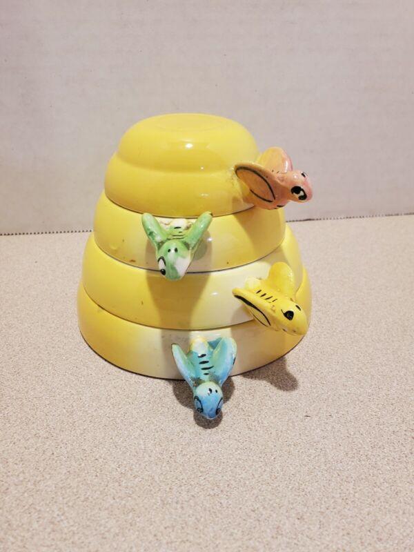 Vintage MG (Menschik Goldman) Stacking Yellow Ceramic Honey Bee Measuring Cups