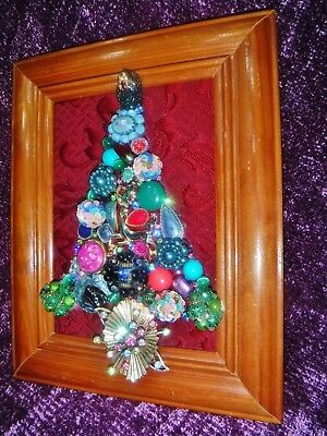 Vintage Jewelry Art Christmas Tree, signed, and Estate Frame