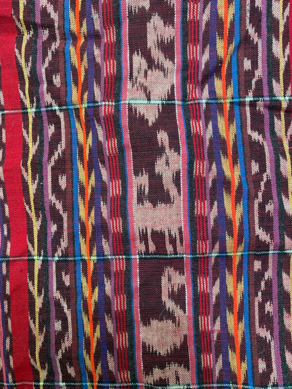 Guatemalan vintage Ikat Multi-colored fabric With Silver accent thread