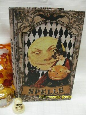 HALLOWEEN WITCH BLK CAT Vintage STYLE SPELLS FAUX BOOK SECRET STASH BOX  - Vintage Halloween Book Boxes