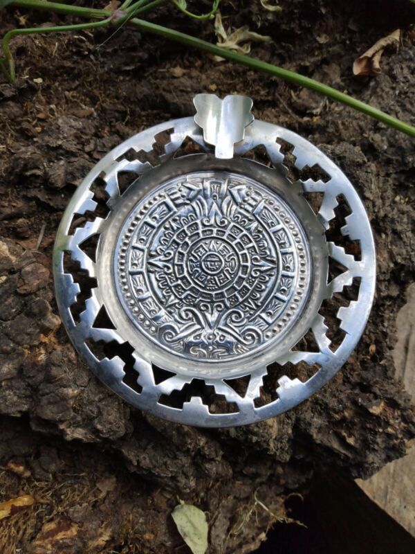 Vintage Sterling Silver Mexico Aztec Style Ashtray 1950