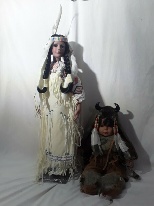 TWO Cathay Collection Timeless Native American Indian Girl Doll  /5000