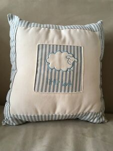 """Baby blue and cream striped """"little lamb"""" pillow"""