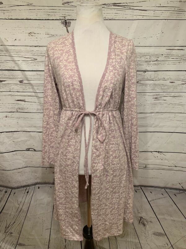 Motherhood Maternity Women's Sz S Waist Tie Front Robe Dress Pajama Lavender