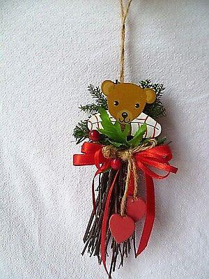 Landart Aufhänger Weihnachtsaufhänger Holzteddybär mit Weihnachtsschmuck 16 cm