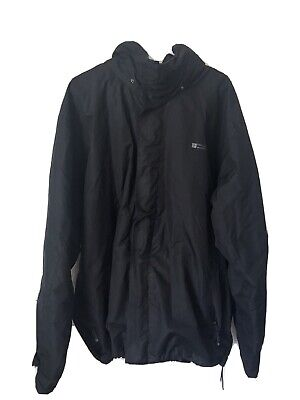 Mens Large Mountain Warehouse Black windbreaker Coat With rolled up Hood   J34