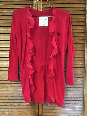 Abercrombie & Fitch S Small Open Front Ruffle Fuchsia Pink Lightweight Cardigan