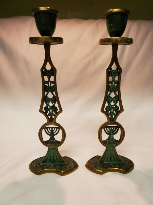 """Pair of two Vintage Brass Enamel Green 10"""" Candle Holders Sticks MADE IN ISRAEL"""