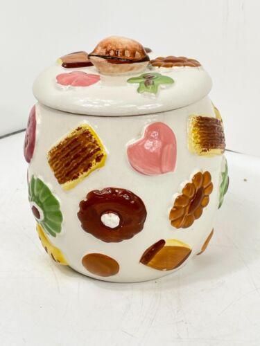 """Vintage Napco """"Cookies All Over"""" Cookie Jar w/Walnut Knob on Lid 1950s"""