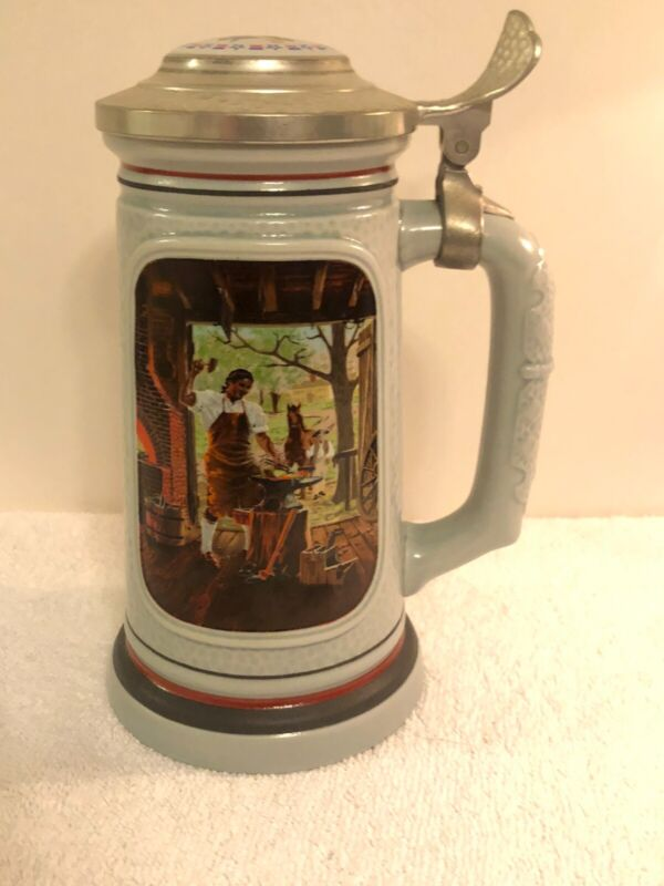 """HANDCRAFTED 1985 AVON """"THE BLACKSMITH""""  THE BUILDING OF AMERICAN STEIN - # 53266"""