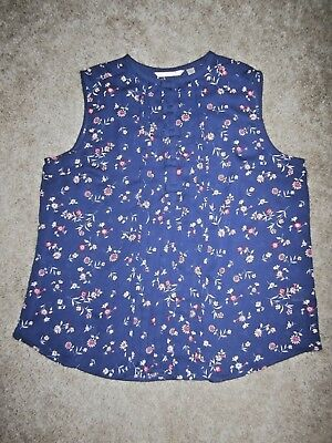 Lauren Conrad women's XL blue floral sleeveless blouse semi sheer bow snaps ()