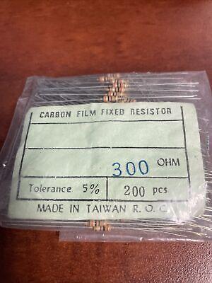 200 Pcs 300 Ohm 14 Watt 5 Resistors
