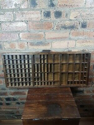 Antique Letterpress Wooden Printers Tray Original Handle John Haddon No 3