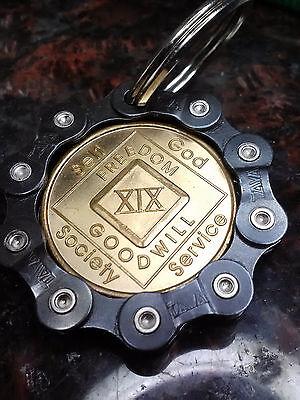 Bikers Aa Na Medallion Black Custom Bike Chain Coin Holder Keychain  Ships Free