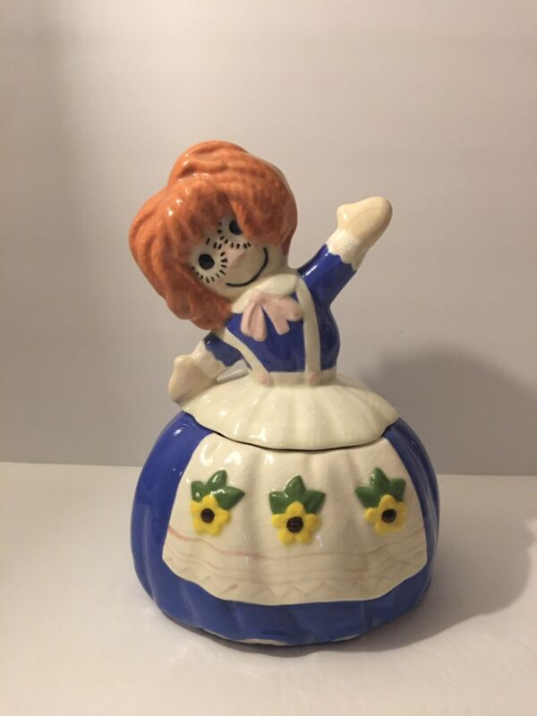 Vintage Raggedy Ann Porcelain Cookie Jar