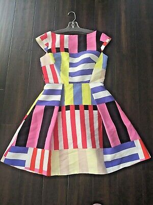NWT KATE SPADE New York Stripe Structured Fit & Flare Dress Sz 2