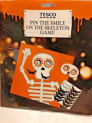 Childrens Halloween Party Games (Childrens Halloween Party Game Pin the smile on skeleton Adults Family)