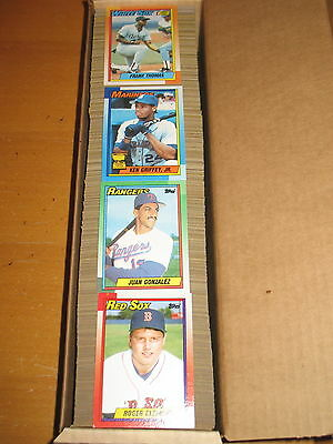 4cbc05405db 1990 Topps Baseball 792 Card Set + Wax Bottom Box Cards A thru P
