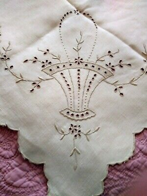 NEVER USED LINEN ANTIQUE CUTWORK EMBROIDERED ANTIMACASSAR SET OLD STORE STOCK