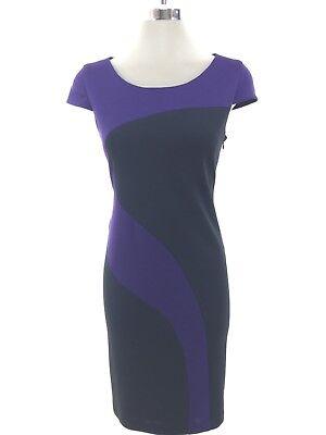 LIZ CLAIBORNE NWT Elegant BLACK PURPLE Color Block Dress size 4 6 8 10 12 14 - Dress Color Block