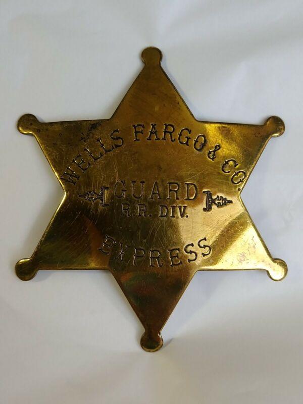 Wells Fargo & Co. Express Guard R.R. DIV.  6-Point Brass Star Badge Rare Vintage