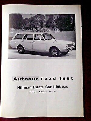 HILLMAN ESTATE CAR - 1,496cc - 1967 - Original AUTOCAR Road Test Leaflet