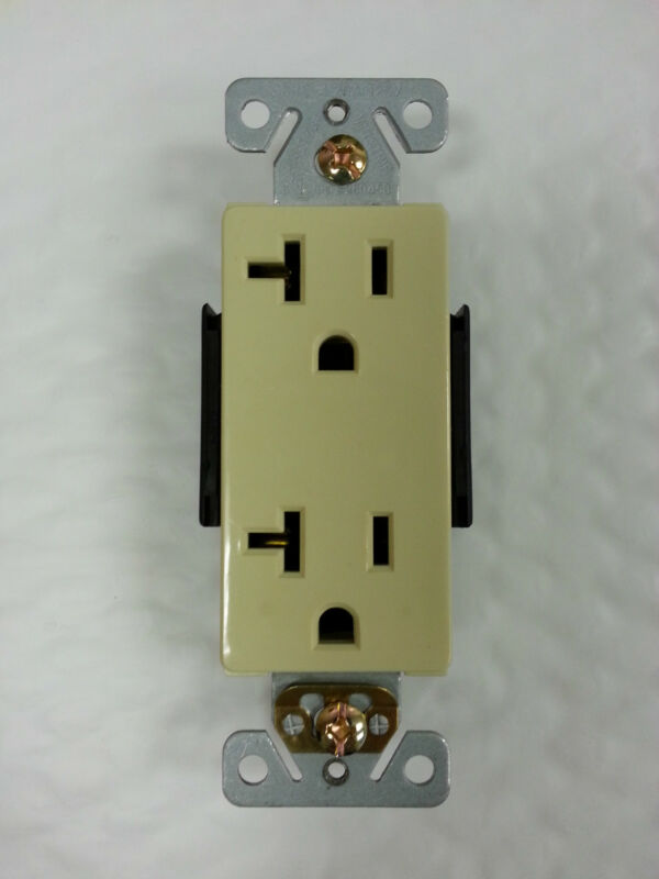 (10 pc) Decorator Duplex Receptacles 20 Amp Ivory Self Grounding 20A Outlets