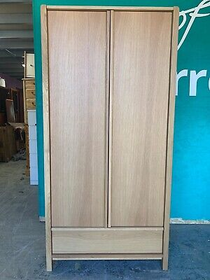 Modern Natural Oak Veneer Double Wardrobe with Draw