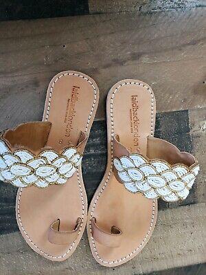 Anthropologie Laidback London Beaded Strap Slide Sandals Women's Size 38