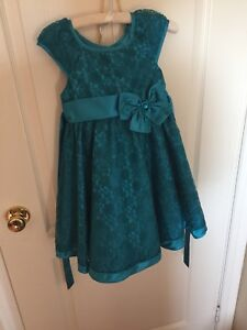 Jewel blue turquoise party dress child size 4