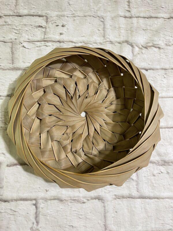 "Handmade Palm Frond Hand Woven Basket St. Thomas Island? 10"" Diam"