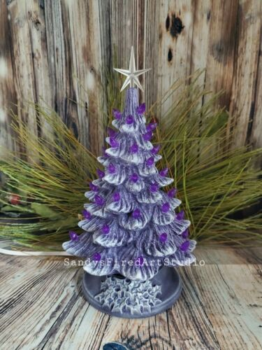 "Ceramic Christmas Tree Lighted 10"" - Purple - Purple Holly Base"