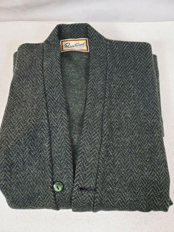 Vintage 1960s Brentwood Sportswear Cardigan Sweater Green Virgin Wool Knit XL