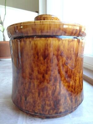 Morton Pottery Brown Yellow Spongeware Glaze Cookie Jar 9