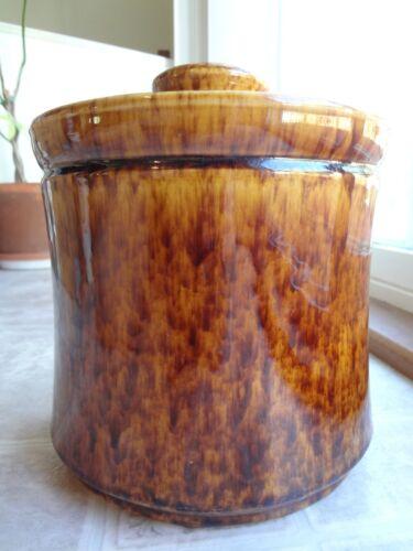"Morton Pottery Brown Yellow Spongeware Glaze Cookie Jar 9"""