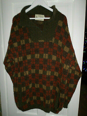 NOR'EASTERLY SCOTLAND VINTAGE CHECK MAN'S BOUCLE WOOL  JUMPER SIZE L