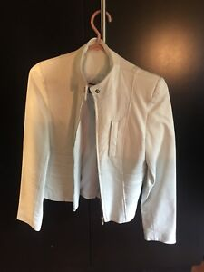 LEATHER JACKET - white motorcycle jacket - price negotiable