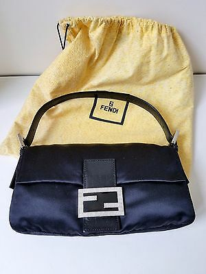 Autent FENDI Black Satin Baguette Rhinestone Buckle   Shoulder Bag  Buckle Baguette Handbag