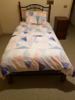 King single bed, mattress and matching bedside table