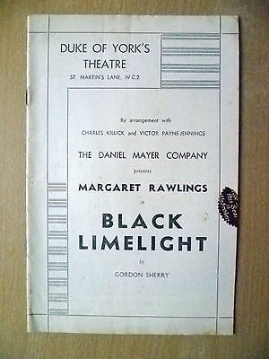 Theatre Programme- Margaret Rawlings in BLACK LIMELIGHT by Gordon Sherry