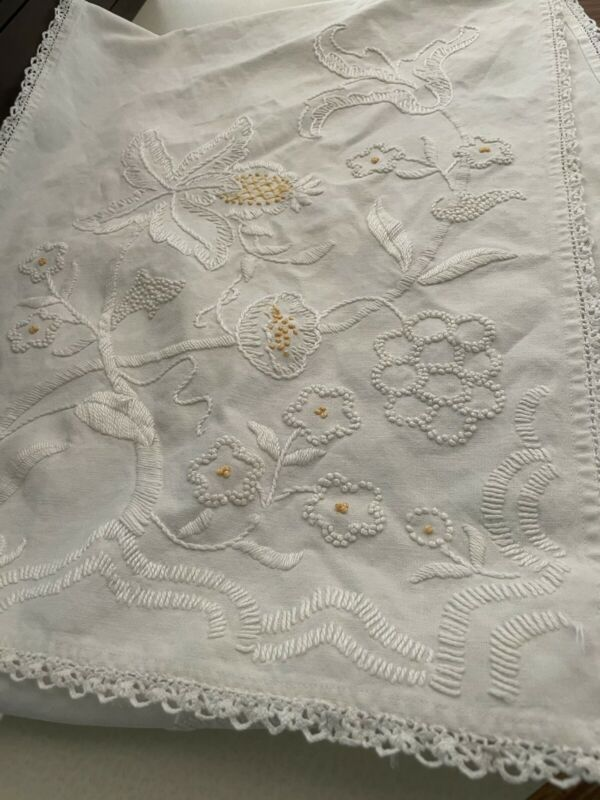 Antique French Linen Ivory Cotton & Yellow Daisy Floral Vintage Table Runner