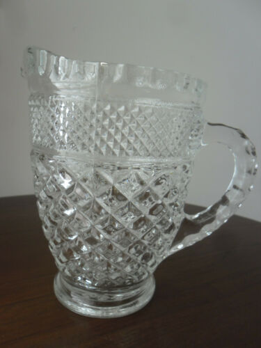 Anchor Hocking Wexford 1 Pint Clear Glass Creamer Pitcher Exc Vintage Condition