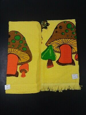 Vintage cannon yellow Mushroom dish towel & dishrag set 70s groovy butterfly NEW