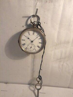 Antique 1874 Victorian Key Wind Pocket Watch Old Silver missing back Lid NONWORK