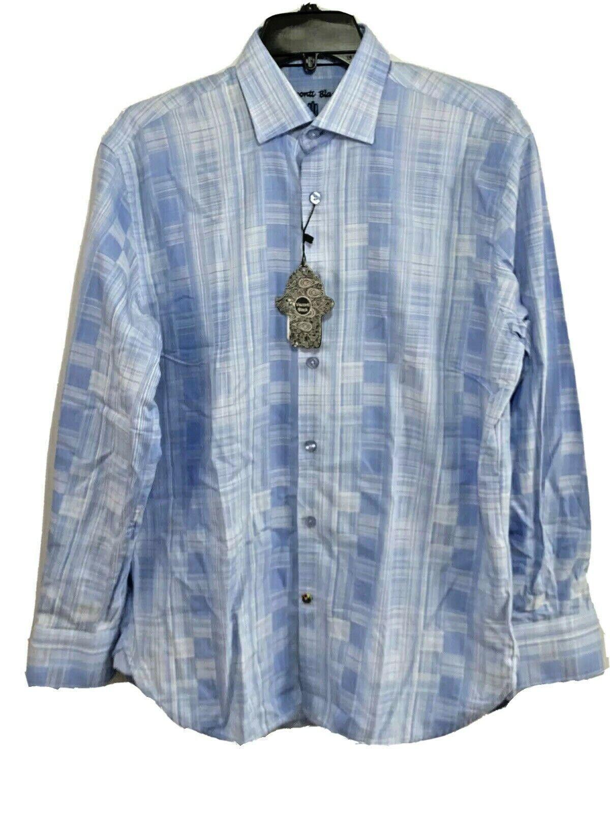 Luchiano Visconti Black Mens Button Down Shirt S Small L/S NWT Blue $125 Casual Button-Down Shirts