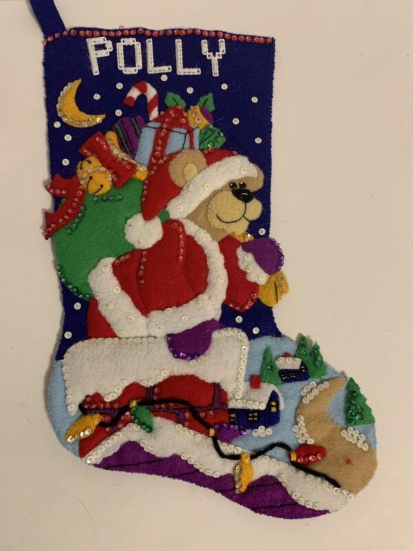 Vtg Felt BUCILLA Sequin Xmas Stocking Santa Claus Bear Toys COMPLETED Finished