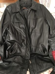 Black Danier leather coat