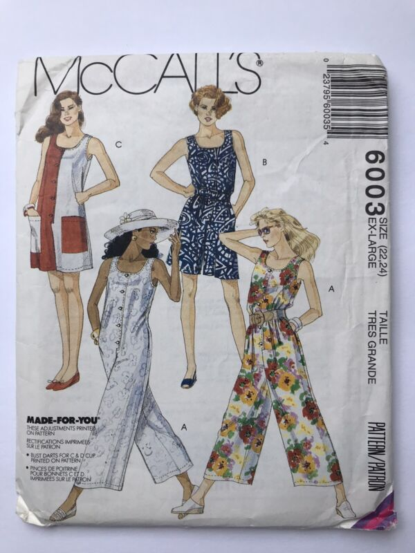 McCalls 6003 Made For You 90s Short Jumpsuit Romper Sewing Pattern UCFF 22 24 XL