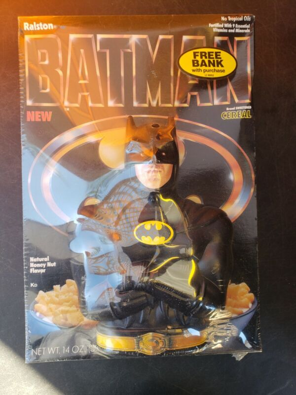 1989 Batman Cereal with Michael Keaton Coin Bank Ralston New Sealed